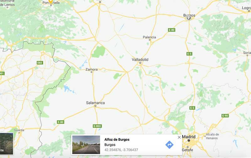 Coordenadas para centrar el mapa de google