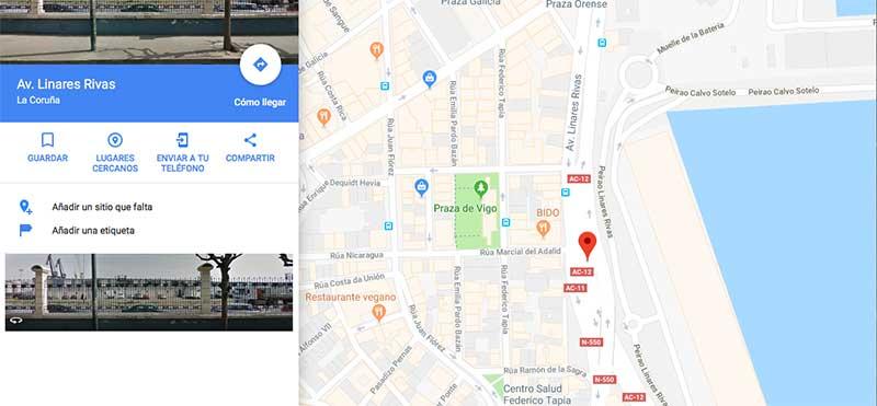 compartir url para centrar el mapa de google